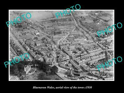 OLD LARGE HISTORIC PHOTO OF BLAENAVON WALES, AERIAL VIEW OF THE TOWN c1930 2