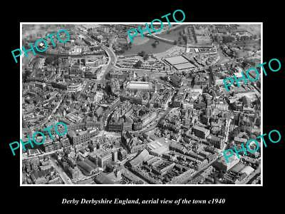 OLD LARGE HISTORIC PHOTO OF DERBY ENGLAND, AERIAL VIEW OF THE TOWN c1940 1