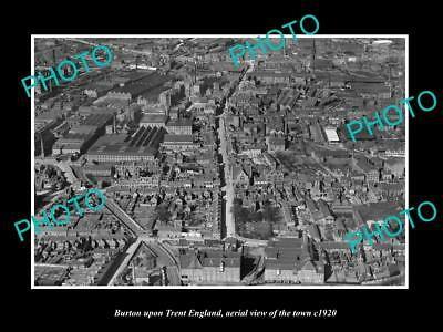 OLD LARGE HISTORIC PHOTO OF BURTON UPON TRENT ENGLAND, TOWN AERIAL VIEW c1920 1