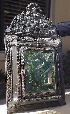 Rare Antique Victorian Embossed Copper Clad Beveled Mirror Watch Cabinet / Keys
