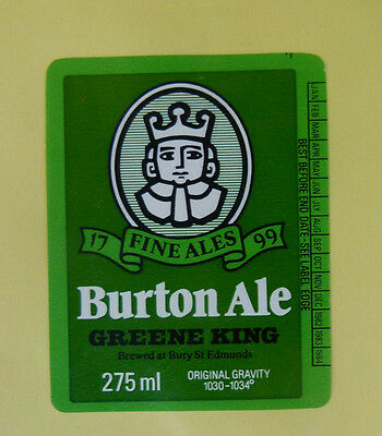 Vintage British Beer Label - Greene King Brewery, Burton Ale