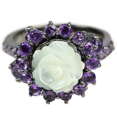 Natural Mother Of Pearl Flower , Purple Amethyst & Cz Sterling 925 Silver Ring 8