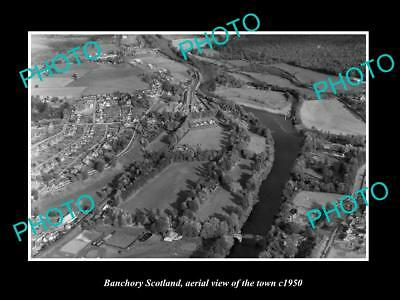 OLD LARGE HISTORIC PHOTO OF BANCHORY SCOTLAND, AERIAL VIEW OF THE TOWN c1950 2