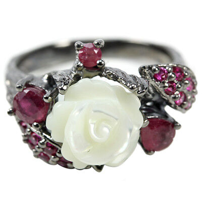 Real Aaa Mother Of Pearl, Blood Red Ruby & Cz Sterling 925 Silver Leaf Ring 6.75