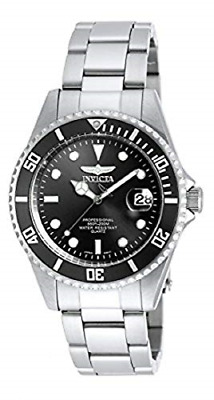Invicta Mens 8932OB Pro Diver Analog Quartz Silver; Dial color - Black Steel