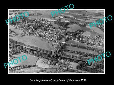 OLD LARGE HISTORIC PHOTO OF BANCHORY SCOTLAND, AERIAL VIEW OF THE TOWN c1950 1