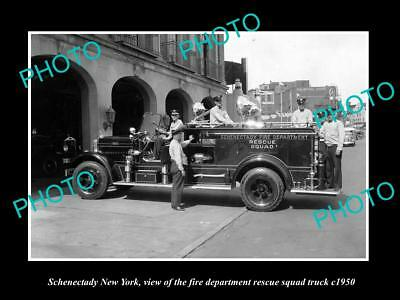 OLD LARGE HISTORIC PHOTO OF SCHENECTADY NEW YORK, FIRE DEPARTMENT TRUCK c1950