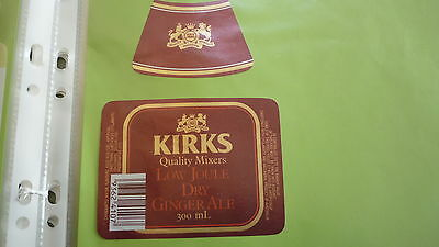 OLD AUSTRALIAN SOFT DRINK CORDIAL LABEL, KIRKS WA, DRY GINGER ALE 300ml