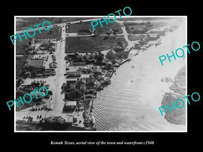 OLD LARGE HISTORIC PHOTO OF KEMAH TEXAS, AERIAL VIEW OF THE TOWN c1940