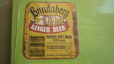 Old Australian Soft Drink Cordial Label, Electra Bunbaberg Qld, Ginger Beer