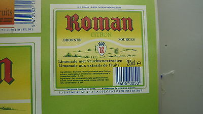 Old Belgian Soft Drink Cordial Label, Roman Brewery, Citron 2