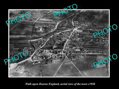 OLD LARGE HISTORIC PHOTO OF WATH UPON DEARNE ENGLAND, TOWN AERIAL VIEW c1930 2