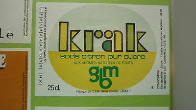 Old French Soft Drink Cordial Label, Gbm Brewery, Roubaix, Krak Lemon 1
