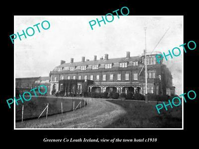 OLD LARGE HISTORIC PHOTO OF GREENORE LOUTH IRELAND, VIEW OF THE TOWN HOTEL c1910
