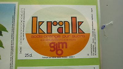 Old French Soft Drink Cordial Label, Gbm Brewery, Roubaix, Krak Orange 1