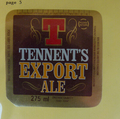 Vintage British Beer Label - Tennent Brewery, Export Ale 275Ml
