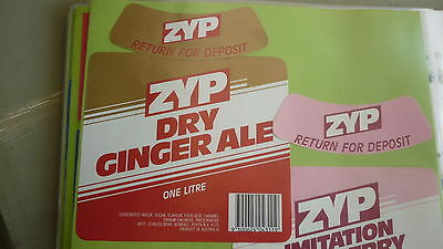 Old Australian Soft Drink Cordial Label, Zyp Drink, Kewdale Wa, Ginger Ale