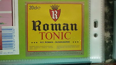 Old Belgian Soft Drink Cordial Label, Roman Brewery, Tonic