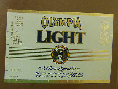 Vintage American Beer Label - Pabst Brewery, Olympia Light Beer 12 Fl Oz