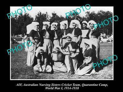 Old Large Historical Photo Of Aif Anzac, Australian Nurses Cricket Team Wwi