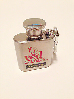Jim Beam Red Stag Black Cherry 1 Oz. Stainless Steel Flask / Key Chain