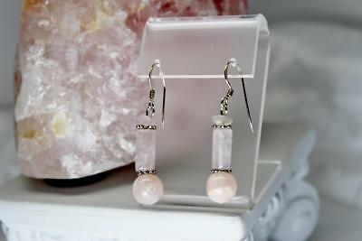 ~MGJ~ Sterling 10mm ROSE Quartz, & Bali Beads Dangle EARRINGS
