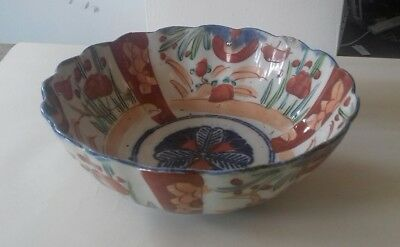Antique Japanese Arita Bowl in Imari colours  Fluted rim C1880, damaged :(
