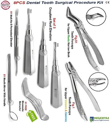8pcs Luxating Surgical Extraction Kit Elevators Root Oral Surgery Tooth Forceps