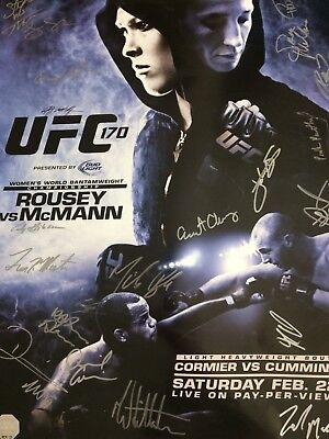 Very RARE Signed 2X UFC FIGHT CARD Posters SBC HISTORY ROUSEY CORMIER 170 WWE