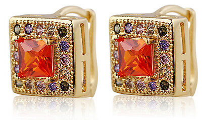 18 k Gold Plated Jewellery Small Girls Women Hoops Red Square Earrings E709