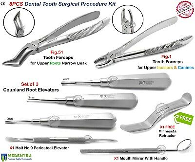 Set Of 8 Oral Surgery Dentist Tooth Extracting Forceps Root Elevators Coupland