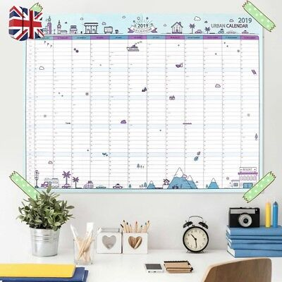 2019 Yearly Planner Annual Wall Chart Year Planner Calendar✔HOME✔OFFICE UK