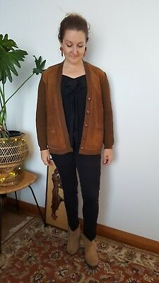1960s vintage mod beatnik wool and suede cardigan - brown - in excellent con