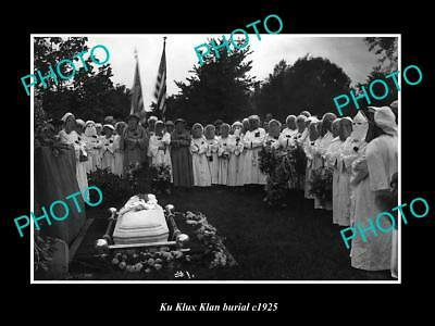 OLD LARGE HISTORIC PHOTO OF THE KU KLUX KLAN BURIAL CEREMONY c1925