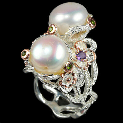 Natural White Pearl Chrome Diopside Topaz Amethyst Sterling 925 Silver Ring 7.75