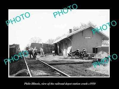 OLD LARGE HISTORIC PHOTO OF PHILO ILLINOIS, THE RAILROAD DEPOT STATION c1950
