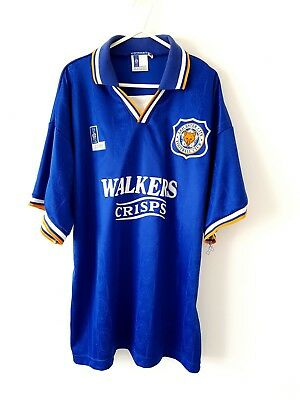 Leicester City Home Shirt 1994. XL. Blue Adults Short Sleeves Football Top Only.