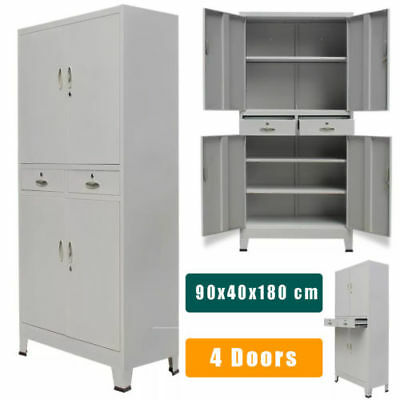 Metal Storage Office Cabinet Locker Cupboard Shelves Furniture Grey Steel 4 Door
