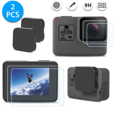 For GoPro Hero 6 5 Black Ultra Clear Tempered TPU Screen + Lens Protector Cap