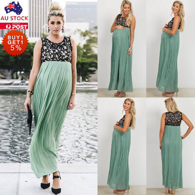 Women Pregnant Lace Ruffle Maxi Dress Sleeveless Maternity Photography Sundress