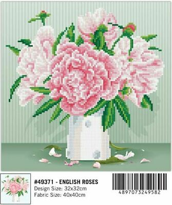 Diamond Dotz Diamond Art, ENGLISH ROSES, 5D Embroidery Facet Art Kit, 32 x 32cm