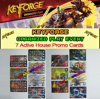 KEYFORGE CALL OF THE ARCHONS - 7 Active House Promo Cards -Chain Tracker- OP EV