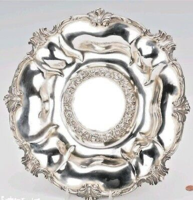 Large Beautiful 19C Antique English Sterling Silver Centerpiece Bowl
