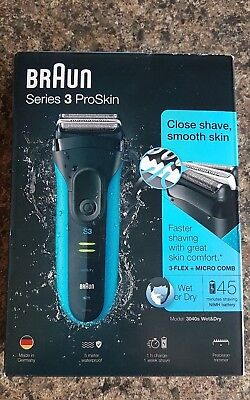 Braun Series 3 ProSkin 3040s Men's Rechargeable Wet&Dry Electric Cordless Shaver