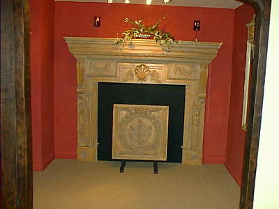 Fireplace Georgian style large carved limed wood fire surround mantel, replica