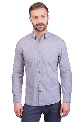 JOHN VARVATOS U.S.A. Shirt Size S Patterned Long Roll-Up Sleeve Button Down