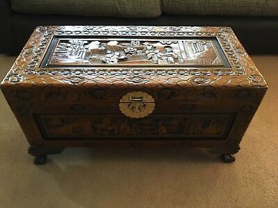 Carved Wooden Trunk Eastern Style Camphor Wood