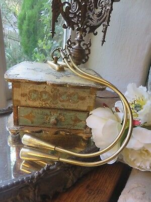 PAIR OF VINTAGE FRENCH SOLID BRASS SWEEPING CURTAIN TIE BACK HOOKS ~1960's 70's
