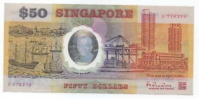 SINGAPORE $50 Comm 25th Anniversary Independence Circulated Very Fine Very Rare!