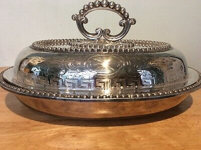 Silver plated plate engraved entree dish cover